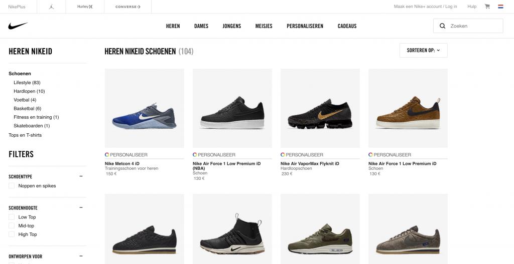 Nike schoenen gepersonaliseerd